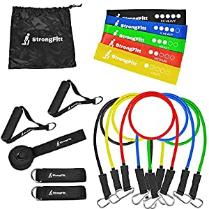 Resistance Bands 16 Peice Set - By SrongFitt - 5 Excersize Bands - Door Anchor Attachment - Anckle Strap for Legs Workout + 5 Loop Bands - Best for Stretching - Physical Therapy - Home Fitness