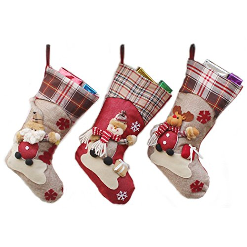 d62f7232786a 3 Pack Christmas Gift Stockings Bag Santa Snowman Reindeer Xmas Character 3D  Hanging Gift Candy Socks Gift Stocking Bag 3D Christmas Wine Bottle Cover  ...