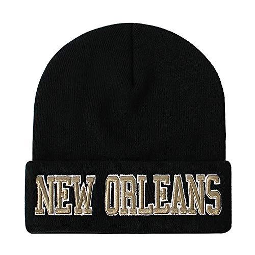Classic Cuff Beanie Hat - Black Cuffed Football Winter Skully Hat Knit Toque Cap (New Orleans)