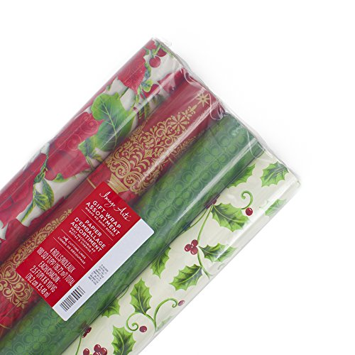 Image Arts Christmas Wrapping Paper Gift Wrap Bundle (Holiday Red & Green Holly, 4 Pack)