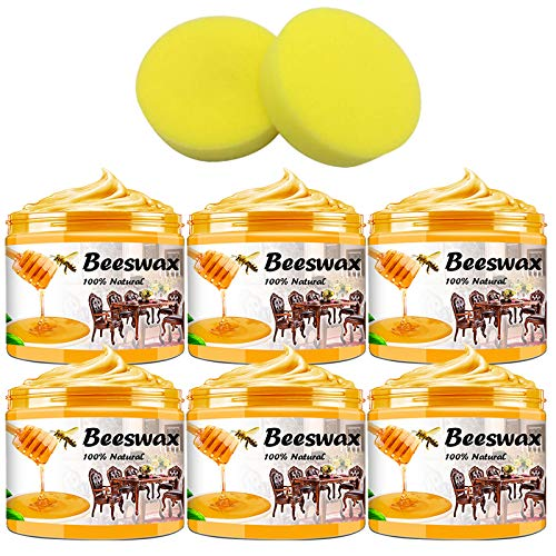 6 Pack Beeswax Furniture Polish with 2 Sponge,Wood Seasoning Beewax for Floor Cabinets Tables Chair, Multipurpose Natural Wood Wax Traditional Beeswax Polish for Home Furniture to Protect and Care