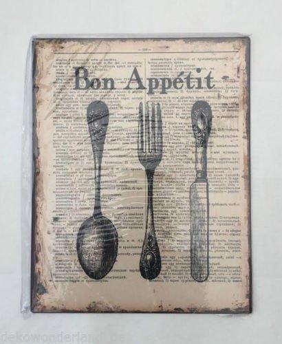 Amazon.de: Blechschild Dekoschild Schild Bon Appetit Guten Appetit Küche  Retro 25x20 Cm