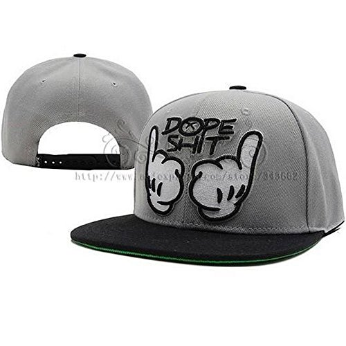 Towallmark Dope Shit Snapback Grey And White Hat Adjustable Baseball Cap Hip-hop Caps