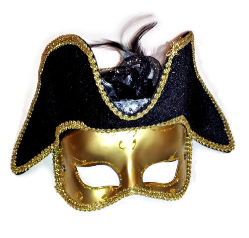 Male Pirate Adult Mask (Venetian Masquerade Pirate Anonymous Half Mask w Hat - Gold Adult OS)