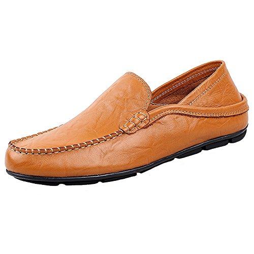 Jions Chaussures Habillées Pour Hommes Mocassins En Cuir Mocassins Chaussures De Bateau Occasionnels C - Jaune