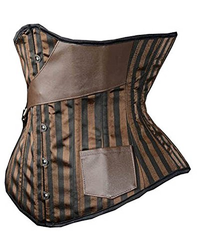 SHAPERX Gothic Steel Boned Steampunk Striped Underbust Corset Coustume for Pirate Party Cosplay,SZ1829-Brown-L