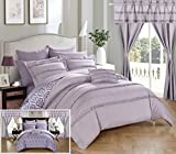 Chic Home CS0749-AN 20 Piece Adina Complete Bed Room In A Bag Super Pinch Pleated Design Reversible Geometric Pattern Comforter Set, Sheet, Window Treatments And Decorative Pillows, Queen, Lavender