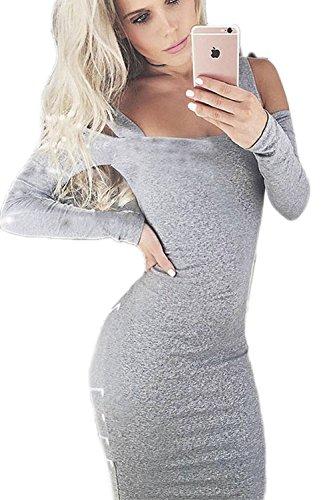 Manga larga de la mujer el vestido de hombro Bodycon coctel Grey