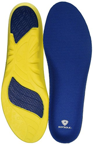Sof Sole Insoles Men's Athlete Performance Full-Length Gel Shoe Insert, Men's 9-10.5 Blue