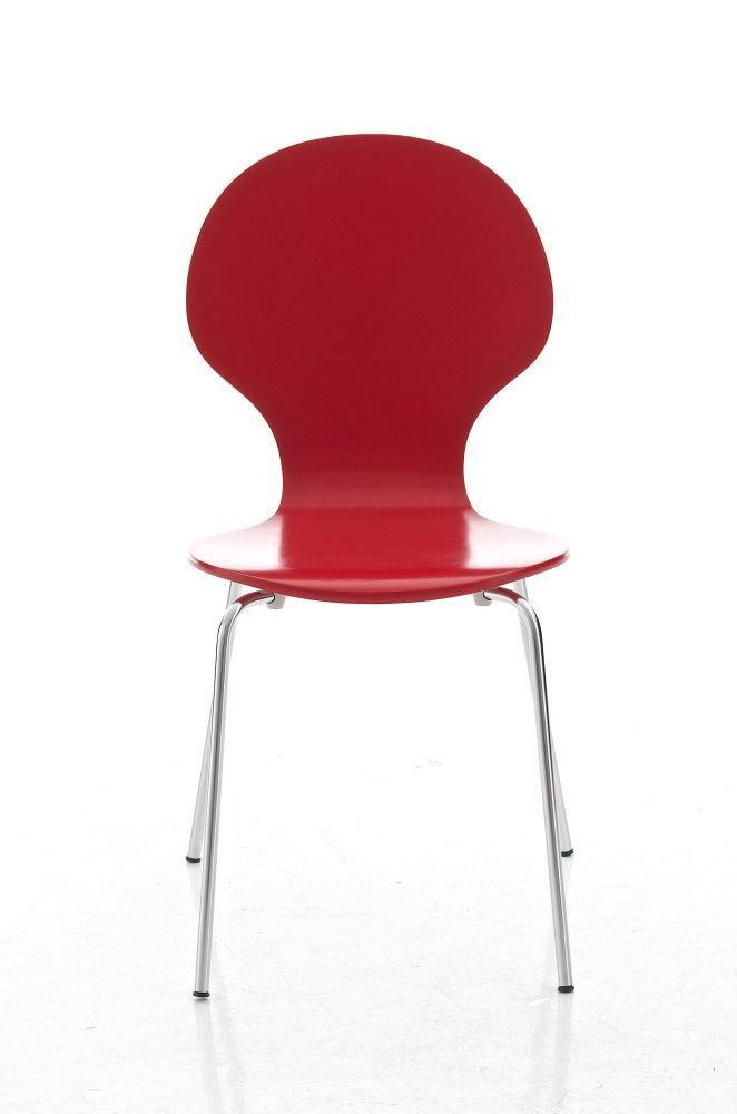 CLP Lot 4 chaises empilables robustes DIEGO - avec siège en bois - siège sous forme ergonomique - entretien facile