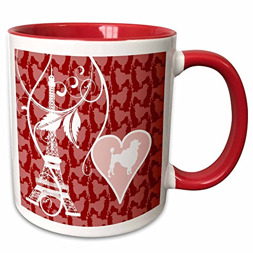 3dRose Russ Billington Designs - Paris Poodles and Eiffel Tower Design in Pink, Red and White - 11oz Two-Tone Red Mug (Red Poodle)