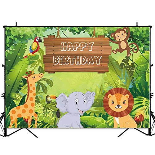 Allenjoy 7x5ft Jungle Safari Theme Boys Birthday Party Backdrop Tropical Forest Rainforest Wild Animals Background Boy Cake Table Banner Photobooth -