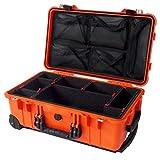 "Pelican ""Colors"" series 1510 Orange & Black case with TrekPak divider system & 1519 Lid Organizer. With wheels."