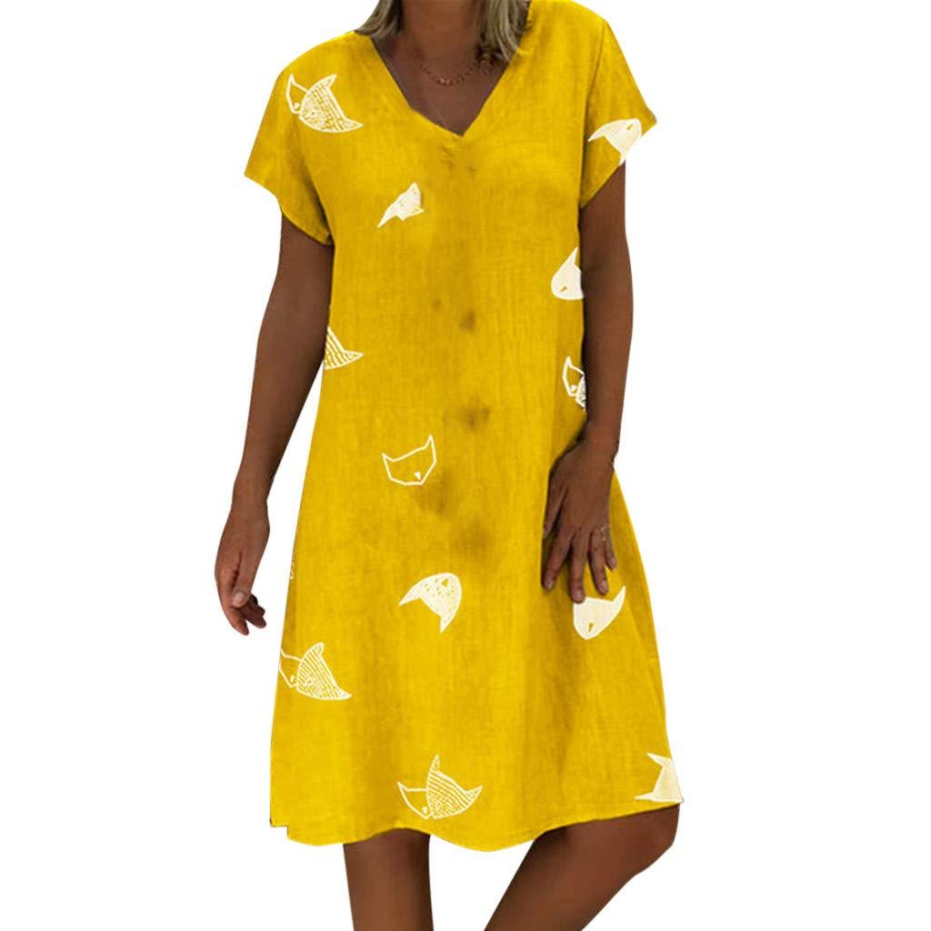 Clothful  Women Dress, Women Casual Summer Print V-Neck Short Sleeve T-Shirt Dress Mini Dress Yellow
