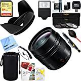 Panasonic H-X012 12mm F1.4 Aspherical LUMIX G Leica DG Wide Angle Mirrorless Lens + 64GB Ultimate Filter & Flash Photography Bundle