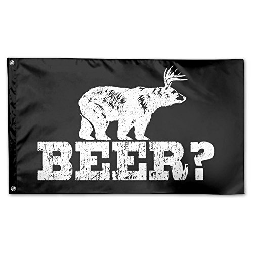 UDSNIS Deer Beer Bear Garden Flag 3 X 5 Flag For Yard Decor Banner Black