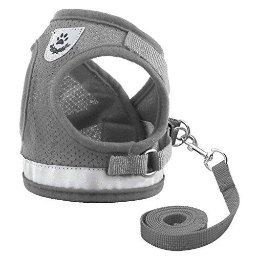 LLOVELYY Dog Harness For Chihuahua Pug Small Medium Dogs Nylon Mesh Puppy Cat Harnesses Vest Gray L