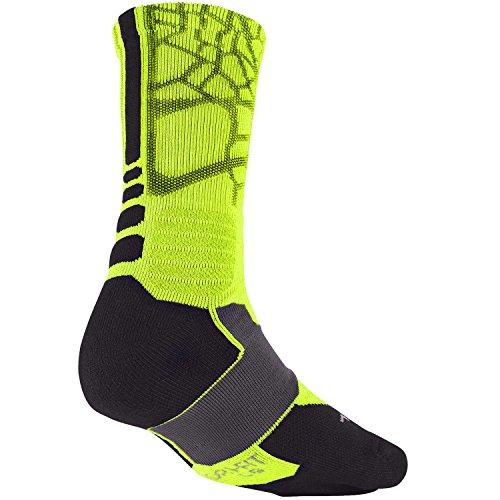 Nike Mens Hyper Elite Demping Crew Socks Volt (sx4885-733) / Ijzer Groen / Antraciet
