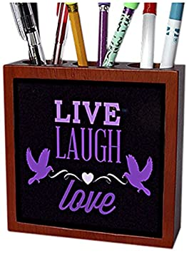 3dRose ph_177779_1 Live, Laugh, Love in Purple with a Heart and Two Birds Tile Pen Holder, 5-Inch