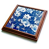 3dRose trv_271212_1 Blue and White Flower Pattern Trivet with Tile, 8 by 8''