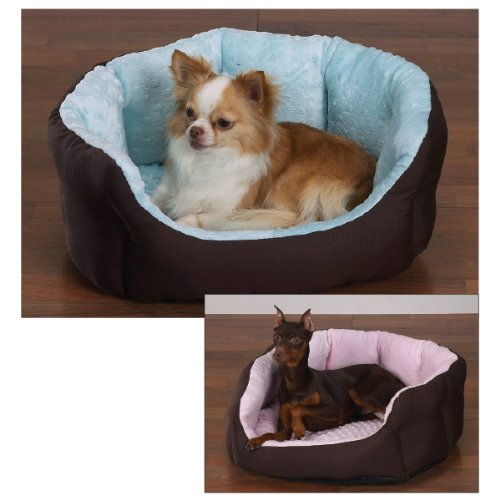 (Slumber Pet Cotton/Nylon 34-Inch Dimple Plush Nesting Dog Bed, Blue )