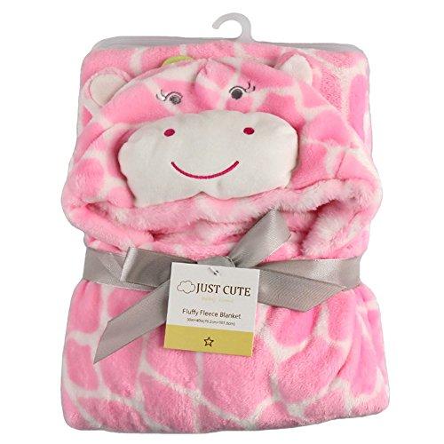 Missbleu Animal Soft Infant Baby Hooded Blanket Baby Bathrobe Pink Giraffe