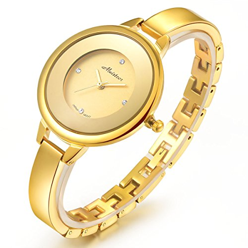 Stainless Steel Wrist Watch for Women Luxury Gold-Tone Watch Analog Quartz Ladies (Chain Gold Wrist Watch)
