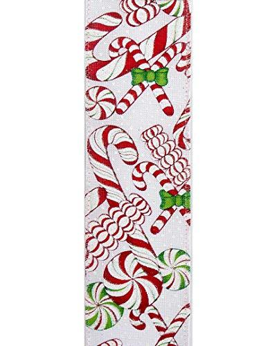 (Kurt Adler Kurt S. Adler 10-Yard Woven White Fabric Green & Red Assorted Peppermint Candy Pattern Ribbon)