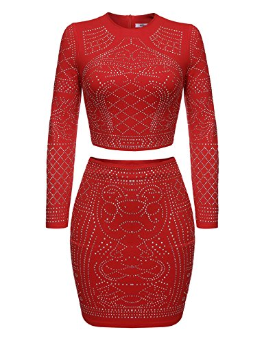 Zeagoo Women Two Pieces Outfit Long Sleeve Beaded Top and Mini Skirt Set (Red XL)