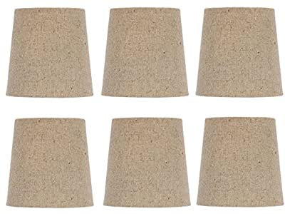 Upgradelights 5 Inch Retro Drum Clip On Chandelier Lamp Shades in Beige Linen (Set of six).