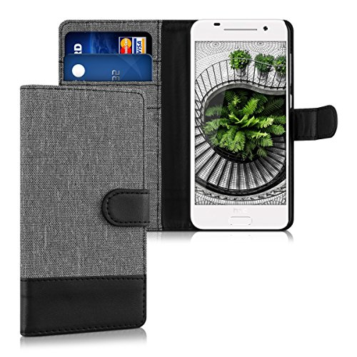 kwmobile Wallet case canvas cover for HTC One A9 - Flip case with card slot and stand in grey black
