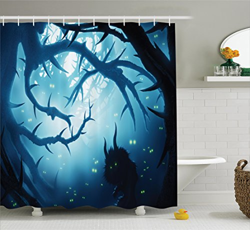 Ambesonne Mystic House Decor Shower Curtain, Animal with Burning Eyes in Dark Forest at Night Horror Halloween Illustration, Fabric Bathroom Set with Hooks, 69W X 70L Inches Long, Navy and -