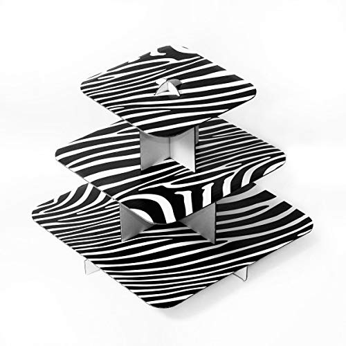 (Ifavor123 Black and White Zebra Print 3-Tier Square Cardboard Cupcake Stand Dessert Tower Treat Stacked Pastry Serving Platter Food Display (12