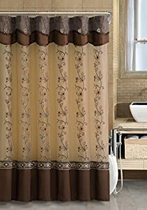 twolayered embroidered fabric shower curtain with attached valance chocolate brown