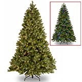 """National Tree 7.5 Foot """"Feel Real"""" Downswept Douglas Fir Tree with 750 Dual Color LED Lights and On/Off Switch, Hinged (PEDD1-312LD-75X)"""