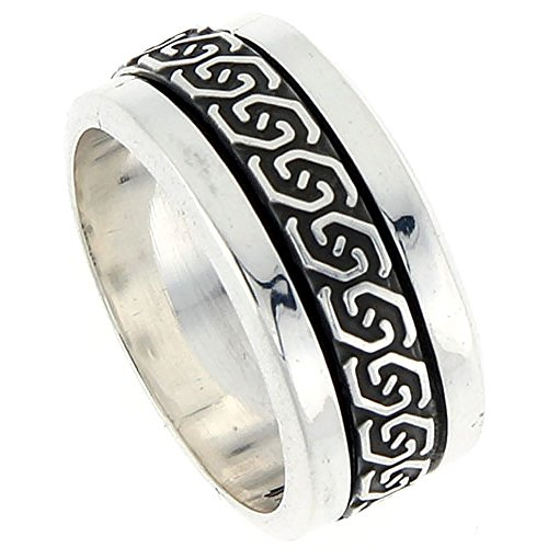 Sterling Silver Mens Spinner Ring Celtic Knot Design Handmade 3/8 inch wide, size 10