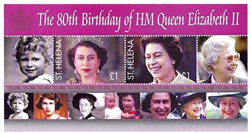 Queen Elizabeth 80th Birthday - Saint Helena 2006 Souvenir Sheet 2 One Pound Postage Stamps Queen Elizabeth II 80th Birthday Scott #902