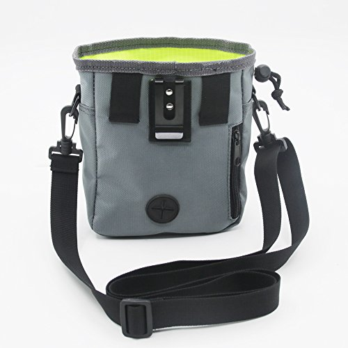 Rapid Rewards Training Pouch,Dog Training Bag, Carries Treats and Toys, Built-In Poop Bag Dispenser, Adjustable Waist and Shoulder Belt (Grey)