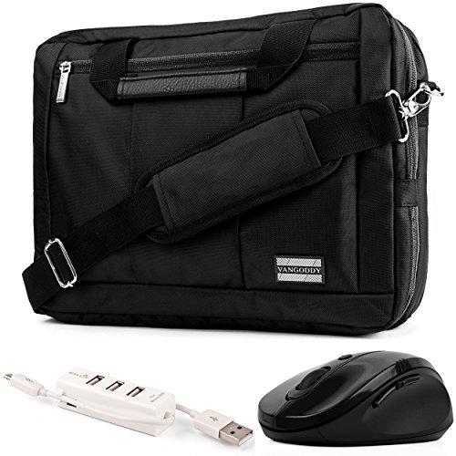 "Price comparison product image EL Prado 3-in-1 Hybrid Black Trim Laptop Bag w/ Wireless Mouse and USB HUB for HP Omen / ENVY / Pavilion / EliteBook / ProBook / Spectre / Stream / ZBook / Mobile Thin Client ""14-15.6in"