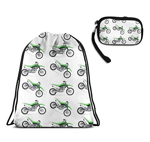 YongColer 2 Pack Set - Drawstring Bag Backpack Daypack School Book Bag, Tote Clutch Wallet Cosmetic Bag Purse Pencil Bag for Men Women Kids Teens (Motorcycle Green Dirt Bike Colorful)