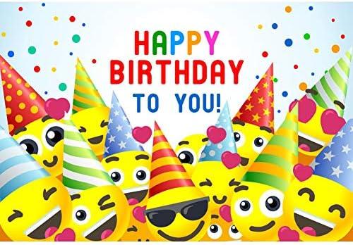 YongFoto 1,5x1m Vinilo Fondo de fotografía Fiesta de cumpleaños Fondo de Dibujos Animados Emoji Telón de Fondo Feliz cumpleaños Telón de Fondo de ...