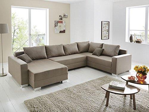 Wohnlandschaft Amy 320x220 160cm Schlammfarben Eckcouch Sofa