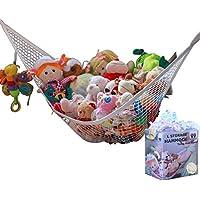 MiniOwls Toy Storage Hammock Organizador grande Blanco (también viene en XL) Solución limpia y una idea económica para cada habitación en casa o en instalaciones: el 3% se dona a la Fundación contra el cáncer