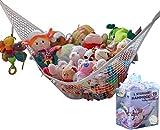 MiniOwls Toy Storage Hammock - Premium Net for Stuffed Plush Animals. Decorative Corner Organizer for Kids Room & Playroom Organization (White,Large)