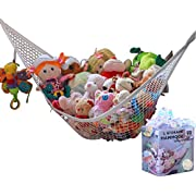 MiniOwls Toy Storage Hammock Large Organizer White (also comes in XL) De-cluttering Solution & Inexpensive Idea for Every Room at Home or Facility - 3% is Donated to Cancer Foundation