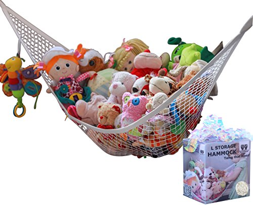 MiniOwls Toy Storage Hammock - Premium Net for Stuffed Plush Animals or Pet Toys. Decorative Corner Organizer for Kids Room, Bedroom & Playroom Organization. Comes in 7 Colors (White,Large)