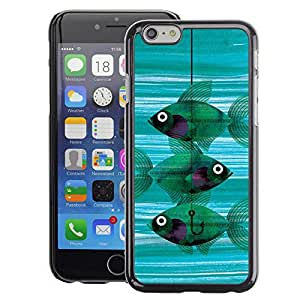 A-type Arte & diseño plástico duro Fundas Cover Cubre Hard Case Cover para iPhone 6 (Fishing Meaning Teal Hook Deep)