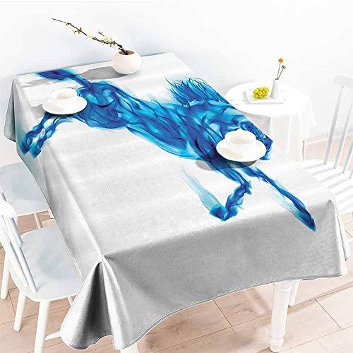 - HRoomDecor Custom tablecloths,Animal Decor,Digital Illustration of Fire House Rearing Up Blazing Devilish Moving Freely Theme,White Dark Blue 70