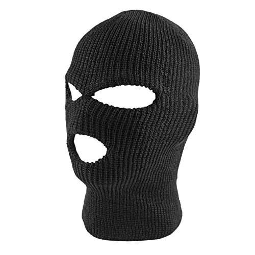 Knit Sew Acrylic Outdoor Full Face Cover Thermal Ski Mask by Super Z Outlet, Black, One Size Fits Most - Outlets Mens