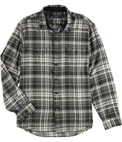Polo Ralph Lauren Mens Regular Fit Plaid Flannel Shirt - L - Grey/Cream